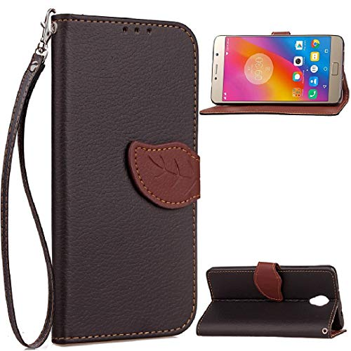 TAITOU Lenovo Vibe K5Plus/A6020a46/Lemon3 K32C36 Case, Vivid Knurling Tree Leaf Skin Lid Wallet Cover, Hanging Sling ID Card Slot, New PU Leather Ultralight Awesome Case for Lenovo Vibe K5 Plus Black