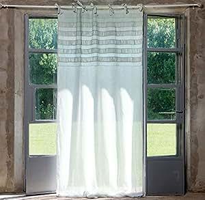 Rideaux style shabby chic rideau voilage 140 x 290/coton/couleur laisse vert clair