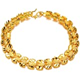 OPK-New Fashion Jewelry Yellow Gold Plated in Copper Bangle Wedding Bridal Style Adjustable Women's Bracelet Jewelry Gift Never Fade and Anti-Allergy Bangle 6.89 Inch Length 9 mm Width 10.5 g Weight