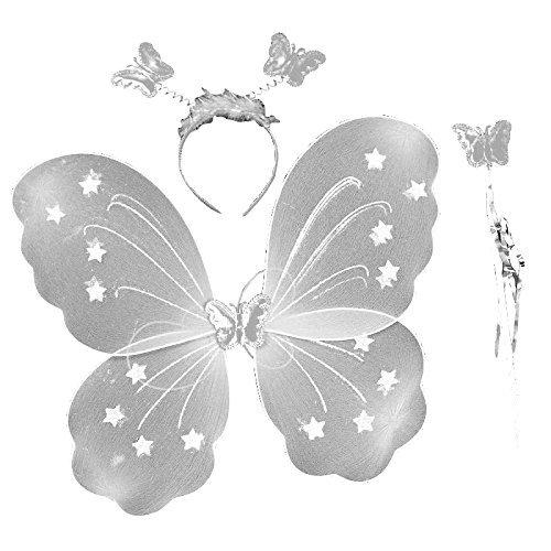 3-7 Jahre - Kostüm Set - Verkleidung - Karneval - Halloween - Theater - Schmetterlingsflügel - Fee - Stirnband - Zauberstab - Weiß - Mädchen