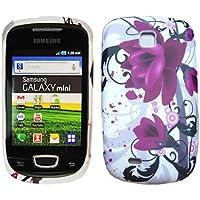 Morado Flora Gel Funda Case Para Samsung Galaxy Mini S5570