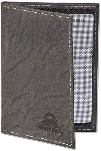 Woodland® Lederetui für den Alten Personalausweis und den KFZ-Schein aus weichem, naturbelassenem Büffelleder in Anthrazit, Schwarz