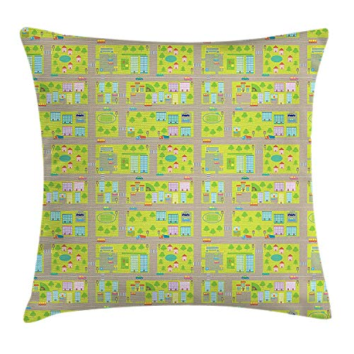 KAKICSA Children's City Map Throw Pillow Cushion Cover, Blocks of Apartments Connected with Roads Mall Parking Lot and School, Decorative Square Accent Pillow Case, 18 X 18 Inches, Multicolor
