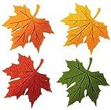Huwi Filzblätter bunt 48 Stück Ahornblätter Laubblätter Bastelblätter Herbstblätter
