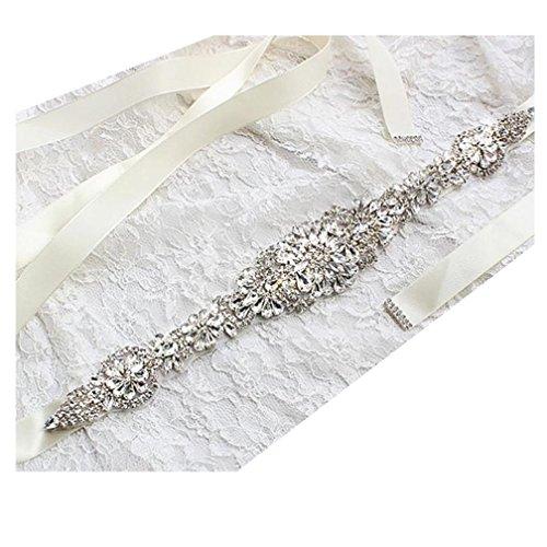 Brautgürtel, Strassgürtel, ivory, 270x2 cm, Satin, elfenbein, Gürtel zum Brautkleid,...