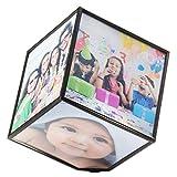 Drehender Fotowürfel für 6 Fotos schwebender Bilderwürfel Fotohalter Bilderrahmen Bildwürfel