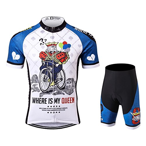 Thriller Rider Sports® Herren Where is My Queen Outdoor Sport MTB Fahrradbekleidung Fahrradtrikot Radsport Kurzarmtrikot Radfahren Trikot und Radhose Anzug Large