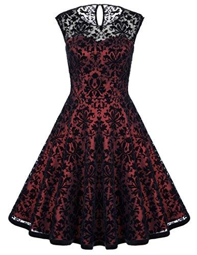 Fashion Swing Kleid Rundhals Rockabilly Kleid Elegant Lace Kleid A Linie Sommer Kleid Casual Empire kleid Cocktailkleid für Geburtstag Hochzeit S (Retro Sexy Kleid)