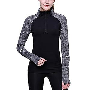SEEU Damen Laufshirt mit 1/2 Reißverschluss Fitness Sweatshirt Laufjacke Sport Langarm Shirt