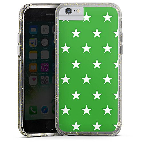 Apple iPhone 6 Plus Bumper Hülle Bumper Case Glitzer Hülle Sterne Stars Pattern Bumper Case Glitzer gold