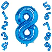 40 Inch Large Blue Number 0-9 Balloons,Foil Helium Digital Balloons for Birthday Anniversary Party Festival Decorations ...