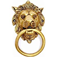 YES I CAN Designer Lion Mouth (Yellow Antique) Brass Door Knocker