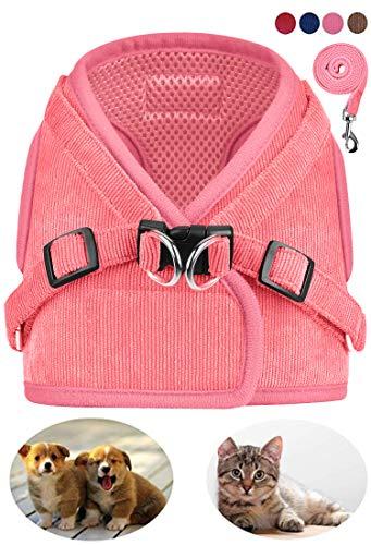 GAUTERF Katzengeschirr mit Leine - Ledertaschen-Stil, verstellbar, reflektierend, weiches Netz, Cord und Hundegeschirr - Universal-Geschirr für Haustiere, X-Large, Rose Stil Cord