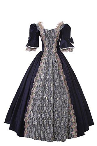 Damen Satin Viktorianisches Kleid Mittelalter Renaissance Maxi Halloween Kostüm (maßgeschneiderte, ()