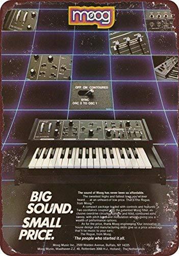 qidushop Moog Keyboard Synthétiseur Vintage AD Reproduction Metal Sign for Home Wall Art Decor Post Plaque pour Femmes Hommes 20 x 30 cm