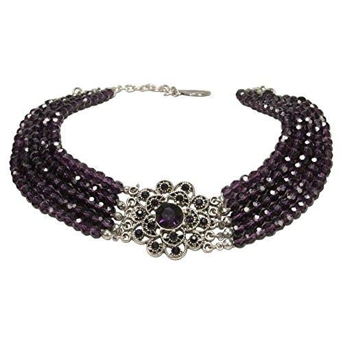 n-Kropfkette Elvira - nostalgische Trachtenkette, eleganter Damen-Trachtenschmuck, Dirndlkette lila-violett DHK201 ()