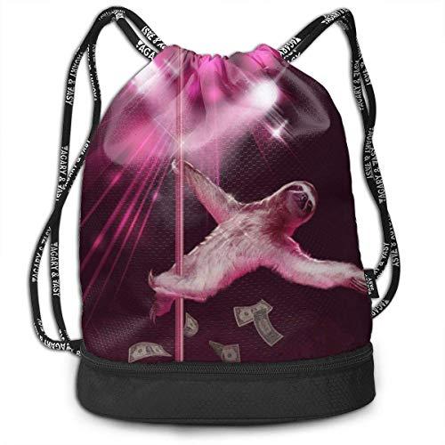 ziHeadwear Funny Pole Dancing Stripper Sloth Drawstring Bag Sport Gym Sack Bundle Backpack Daypack for Men and Women Outdoor Shopping Satchel Rucksack