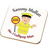 Personalised Worlds Best Lollipop Man Coaster His Thank You Gift from Children (Grey Hair White Skin)