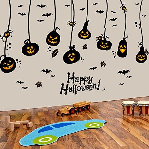 SMNCNL Halloween Dekoration Aufkleber Selbstklebende wall Poster Kinder kreative Kürbis licht Wohnheim Stil Tapete Glastür AufkleberDassHalloween hängenden Ornamente (Halloween-dekorationen Ziel)