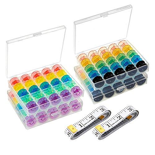 Nähmaschine Spulen Fall-100Spulen 4Boxen mit 2bandmasse, Gewinde Kunststoff transparent Aufbewahrungsbox mit Spulen für Home und bunte Craft Supplies -