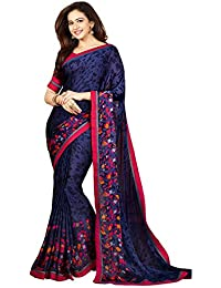 Women's Latest Georgette Fancy Saree With Blouse By Mona Fashion (Black Color , Free Size)