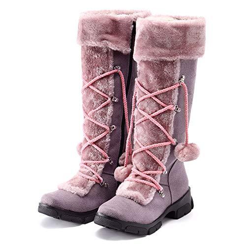 LoveLeiter Damen Winterstiefel Schneestiefel Schnee Stiefel Nylon Tall Wasserdicht GefüTtert Regen Damen-Schneestiefel Warm Warme Weiche Winterschuhe Ritter Shoes Stiefelparadies Boots(Lila,36)