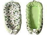 Tragbare Falten Neugeborenen Babybett Baby Nest Bett Baby Kleinkinder Baumwolle Slepping Körbe Reisebett Für Baby, 80X50 cm (Innere Größe: 65 * 25 cm),Greenleaves