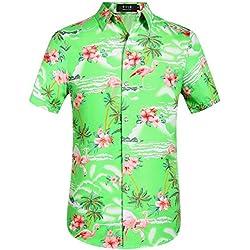 SSLR Hombre Flamencos Flores Tiempo Libre Aloha Hawaii Camisa Verde Claro S