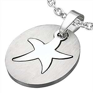 Zense - Pendentif homme en acier inoxydable argenté avec motif étoile de mer ZP0166