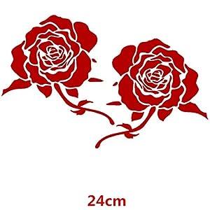 HANO CarFlowers Schöne rote Rose Kreative Abziehbilder Cyter Auto Tuning Styling Wasserdicht 15 * 14cm & amp; 24 * 23cm Duad D11: 24x23 Red