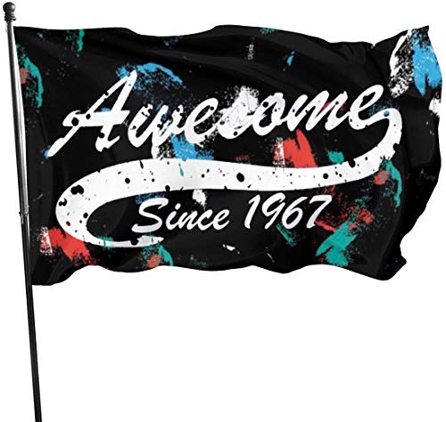 Viplili Flagge/Fahne, 0th Birthday Gift Awesome Since 1967 Flag 3x5 FT Garden Flag Tough The Strongest, Longest Lasting Flag National Flag Outdoor Flags