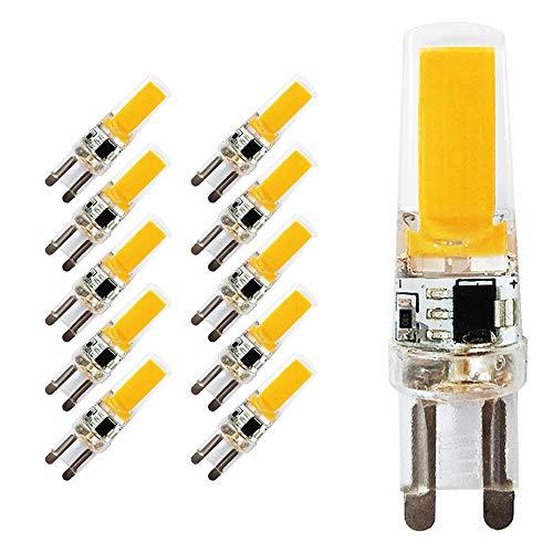 Yuecute 10 x G9 LED-Leuchtmittel, 5 W/500 Lumen, COB Energiesparlampe, Warmweiß, 230 V, entspricht 50 W Halogenlampe, für Wohnzimmer, Schlafzimmer, Büro Beleuchtung