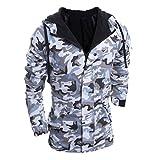 IMJONO Herren Herbst Winter Camouflage Wind Männer Hooded Coat Bluse (EU-48/CN-XL,Grau)