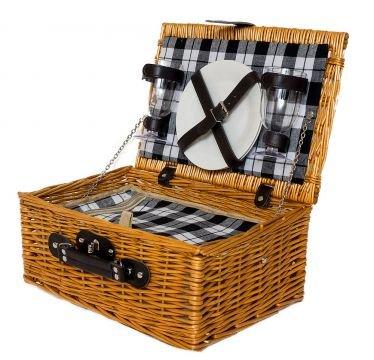 Picknickkorb 2 Personen Picknicktasche Weidenkorb Teller Kühltasche Kunststoffgläser