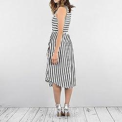 NEEDRA Women Summer Beach Striped Dress Sleeveless Casual Dresses with Pockets Dress