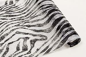 """Chemin de table en tissu non-tissé motif zèbre """"- longueur 5 m largeur &28 cm-un must-have pour tous les zebrafans, afrikafans &safari-vous"""
