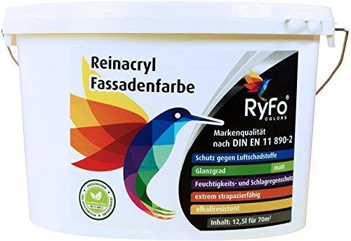 RyFo Colors Reinacryl Fassadenfarbe 12,5l (Größe wählbar) - Premium Hausfarbe weiß