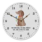 Mr. & Mrs. Panda Uhr, Druck, 30 cm Wanduhr Hund Blume mit Spruch - Farbe Weiß