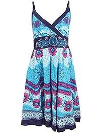 Universal Textiles Womens/Ladies Flower Pattern Strappy Crossover Summer Dress