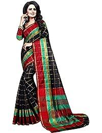 Vatsla Enterprise Women's Cotton Saree With Blouse Piece(VPYSBLACKSAREE_BLACK_COLOUR)