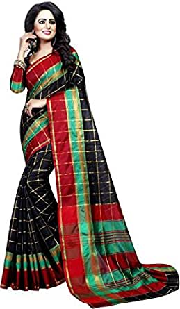 Vatsla Enterprise Women's Cotton Saree With Blouse Piece(VPYSBLACKSAREE_BLACK_COLOUR)