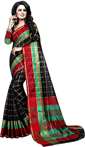 Vatsla Enterprise Women\'s Cotton Saree With Blouse Piece(VPYSBLACKSAREE_BLACK_COLOUR)