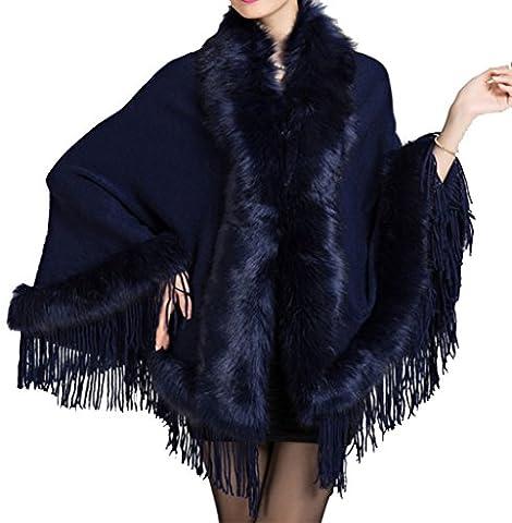 Helan femmes faux vison fourrure chale cape manteau avec tassel Bleu fonce