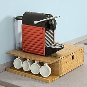 SoBuy® FRG269-N Boîte à Capsules de Café à tiroir Porte-Capsules Boîte à thé Distributeur de capsules en bambou L40xP30xH11cm