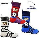 alles-meine.de GmbH 1 Stück _ XL Fußball _Filzstrumpf -  Fußballschuhe - BLAU / SCHWARZ - mit austauschbaren Foto  - 45 cm - Bilderrahmen / Sportverein - Fotosocke - Deko - STO..