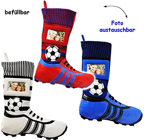 3 Stück _ XL Fußball _Filzstrümpfe -  Fußballschuhe - ROT / BLAU - mit austauschbaren Foto  - 45 cm - Bilderrahmen / Sportverein - Fotosocke - Deko - Stolle.. ()