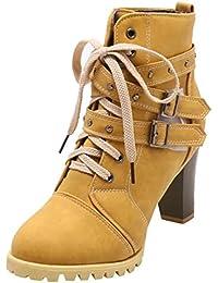 Artfaerie Damen Blockabsatz Ankle Boots Plateau High Heels Stiefeletten mit  Schnürung und Schnalle Modern Schuhe cc8db4a2ff