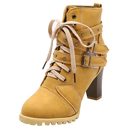 Artfaerie Damen Blockabsatz Ankle Boots Plateau High Heels Stiefeletten mit Schnürung und Schnalle Modern Schuhe(EU 40,Gelb)