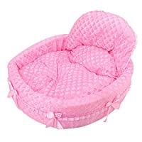 WYSBAOSHU Luxury Dogs Cats Bed Cute Princess Pet Sofa for Small/Medium Dogs (L, Pink)