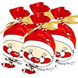 Weihnachtsgeschenktüten, 50 Stück, Kunststoff, mit Kordelzug, Weihnachtsgeschenk, Geschenkverpackung, Süßigkeitenbeutel, für Kinder, Erwachsene, Jahrestag, Merry Christmas Party D